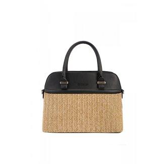 NEW1507 Schwarze Handtasche mit Brown Woven-Detail