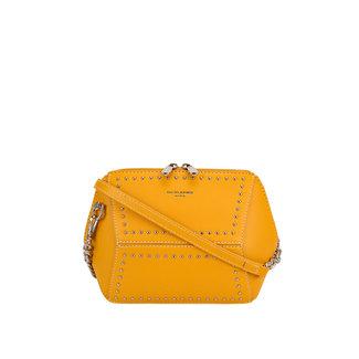 Gelb-Leder-Blick-Umhängetasche mit Nieten