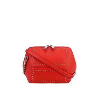 Red-Leder-Blick-Umhängetasche mit Nieten