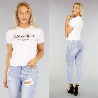 NEW1507 Anschließend Basic Weiß T-Shirt mit Text