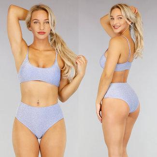 NEW1507 Blue Glitter High Waist Bikini