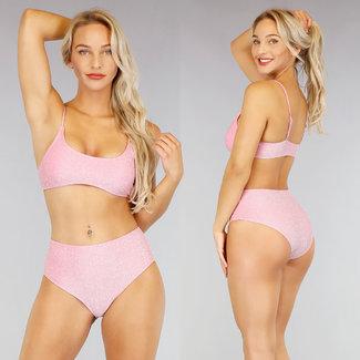 NEW1507 Pink Glitter High Waist Bikini