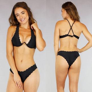 Schwarz Ausgebogte V-Form-Bikini