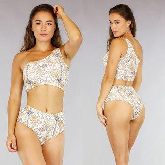NEW1507 Eine Schulter Bikini mit Verzierungen Druck