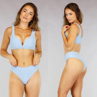 Light Blue Rib V-Form-Bikini
