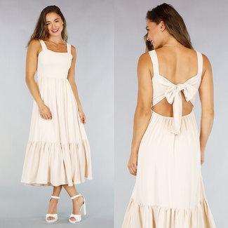 NEW1507 Lange Beige Kleid mit geöffnetem zurück und Strik