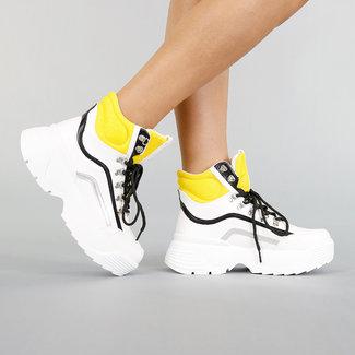 NEW1507 Hohe Sneakers Weiß mit Gelb Details