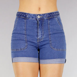 Dunkelblaue Jeans-Shorts mit Geflochtene Bund