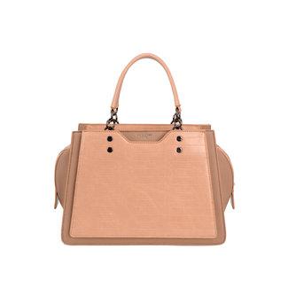 NEW2207 Nude-Handtasche mit Krokoprägung