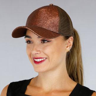 NEW2207 Brown Trucker-Mütze mit Glitzer