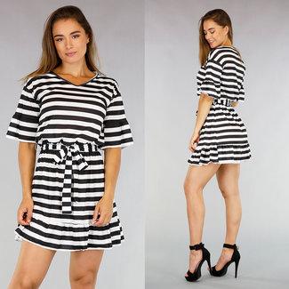 NEW2207 Plissee-Kleid Schwarz / Weiß-Streifen