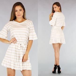 NEW2207 Plissee-Kleid beige / weißen Streifen
