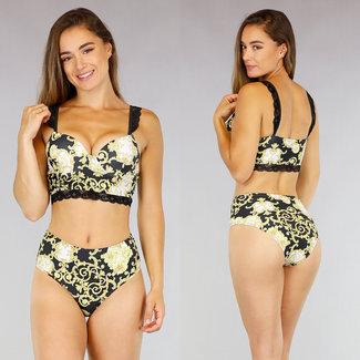 NEW2207 High Waist Bikini mit Verzierungen Drucken
