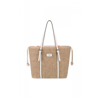 Big Woven Handtasche mit Lederoptik-Details