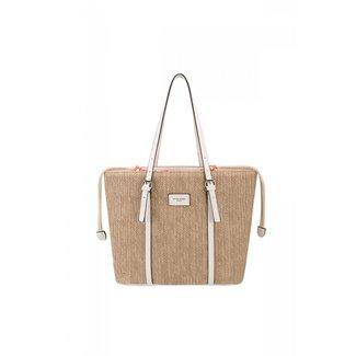 NEW2207 Big Woven Handtasche mit Lederoptik-Details