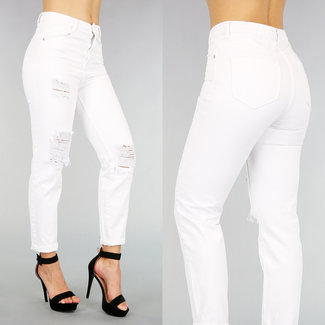 NEW2907 Weiß High Waist Jeans Mutter mit Tränen