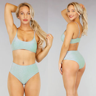 NEW2907 Mint Glitter High Waist Bikini