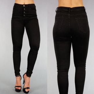 NEW0508 Schwarz High Waist Jeans mit Knopfverschluss