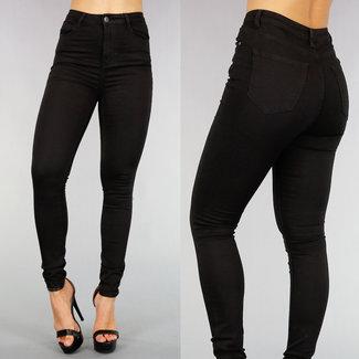 NEW0508 Basic Black High Waist Jeans mit Stretch