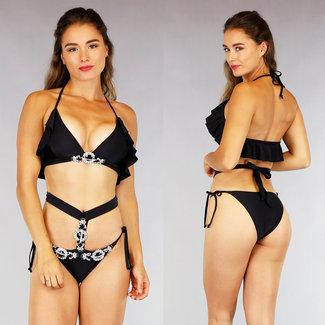 NEW0508 Schwarzer Bikini mit Strass und Rüschen