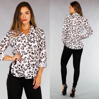 NEW0508 Hellrosa Leopard Chiffonbluse