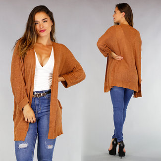 NEW0508 Camel Medium bequeme Strickjacke