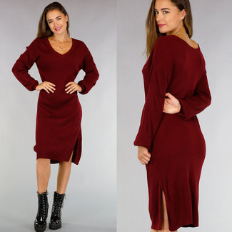 NEW0508 Loose-Fit Rib Wine Red Sweater-Kleid