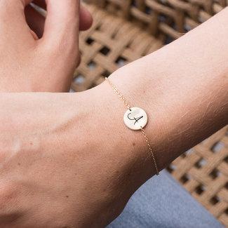 NEW1908 Rosà © Smal Armband mit Buchstaben A Charm t / m H