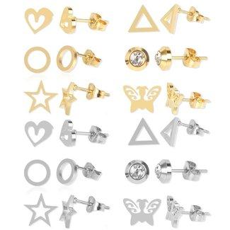 Satz von 12 Paaren verschiedene Gold- und Silber-Ohrringe