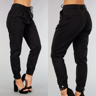 NEW2608 Schwarz-Jeans-Hose mit Spitze