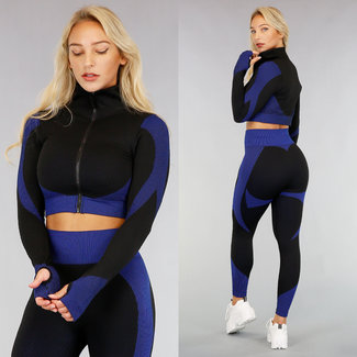 Blau Sportjacke mit Muster