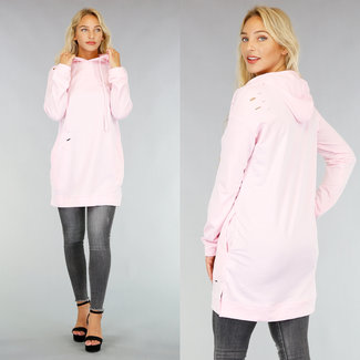!OP=OP Hellrosa Pullover Kleid mit Löchern