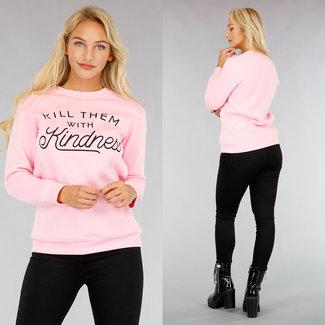 Hellrosa Sweatshirt mit Aufschrift