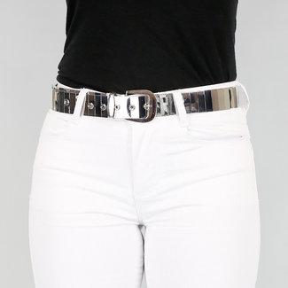 NEW2608 Silver Mirror Gürtel mit Schnallenverschluss