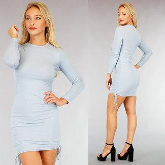 NEW1609 Dann Blau Rib Kleid mit Spitze