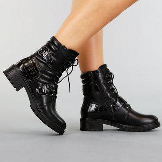 NEW1609 Lederoptik Stiefel mit Schnallen und Kroko-Details