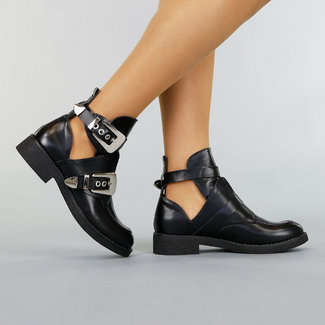 NEW1609 Öffnen Schwarz Ankle Boots mit Schnallen