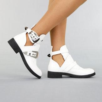 NEW1609 Weiß öffnen Ankle Boot mit Schnallen
