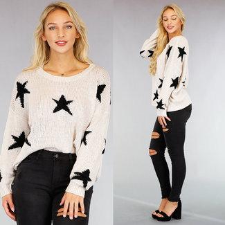 NEW1609 Beige Crochet Sweater Black Stars