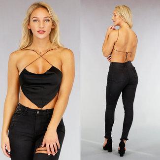 NEW1609 Sexy Kurz Schwarz Top mit geöffnetem zurück