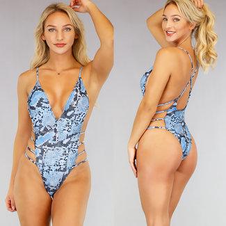 Riemchen Blaue Schlange Drucken Badeanzug mit High Cut