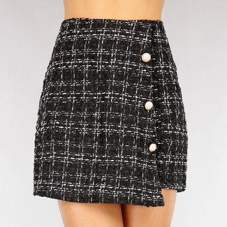 NEW2309 High Waist Tweed Skort mit Perlmuttknöpfen