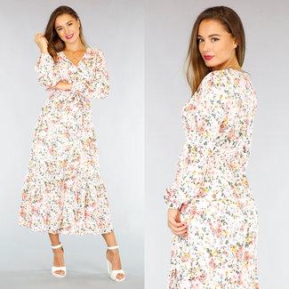 NEW2309 Weiß Maxi-Kleid mit Verpackungs-und Blumendruck