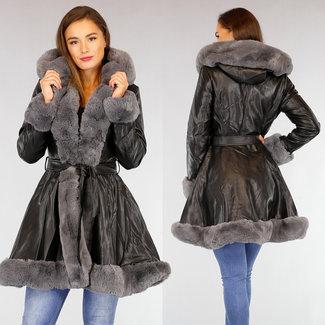 NEW2309 Schwarz Halb Lange Lederimitat Jacke mit grauem Pelz