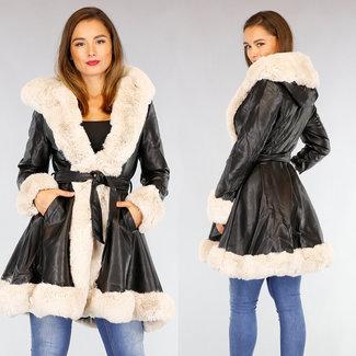 !OP=OP Schwarz Halb Lange Lederoptik Jacke mit beige Pelz