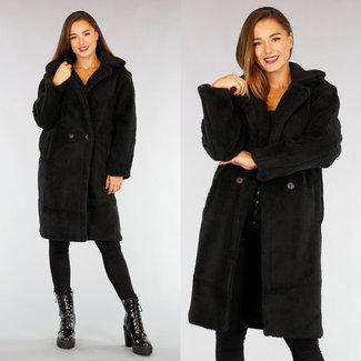 NEW2309 Übergroße Teddy Long Black Coat