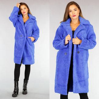 NEW2309 Blau Maxi-Teddy Long Jacket