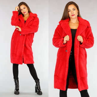 NEW2309 Red Maxi-Teddy Long Jacket