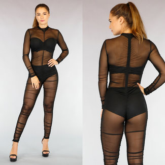 NEW3009 Black Mesh Plissee-Overall