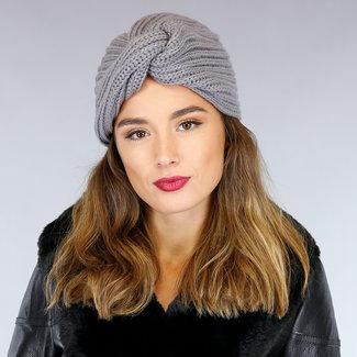 NEW0710 Grau Wollmütze mit Drehknopf